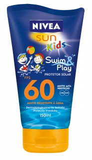 Bloqueador solar Nivea FPS-60 Kids Swim&play Loção 150ml