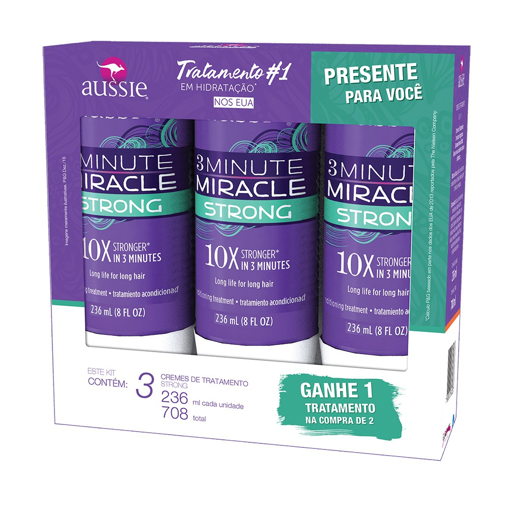Kit Creme de tratamento Aussie 3 minutes miracle Strong 236ml Leve 3 pague 2