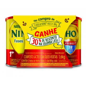 KIT COMPOSTO LÁCTEO NINHO FASES 1 800G 30% 2UNIDADE