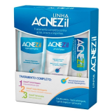 KIT ACNEZIL GEL DE LIMPEZA 100G + LOÇÃO ADSTRINGENTE 200ML + GEL SECATIVO 10G
