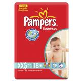 FRALDAS DESCARTÁVEIS INFANTIS PAMPERS SUPERSEC TAMANHO XXG 18 UNIDADES