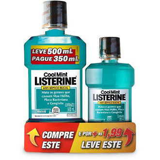 KIT ENXAGUANTE BUCAL LISTERINE COOL MINT 500ML + 250ML