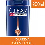 SHAMPOO ANTICASPA CLEAR MEN QUEDA CONTROL 200ML