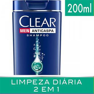 SHAMPOO CLEAR MEN LIMPEZA DIÁRIA 2 EM 1 ANTICASPA 200ML