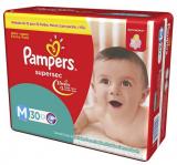 FRALDAS DESCARTÁVEIS INFANTIS PAMPERS SUPERSEC TAMANHO M 30 UNIDADES