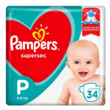FRALDA PAMPERS SUPERSEC P 34 UNIDADES