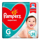 PAMPERS SUPERSEC TAMANHO G 26 UNIDADES