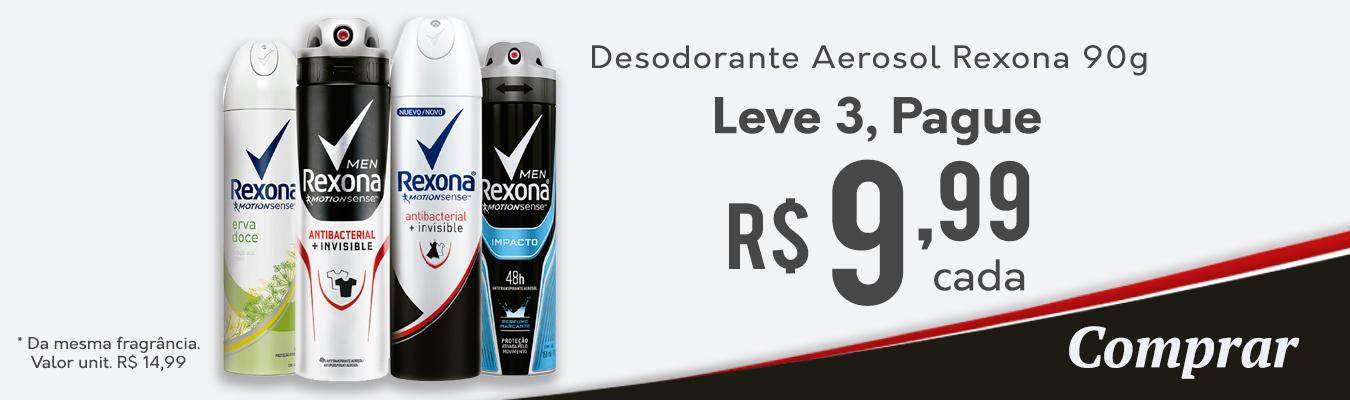 Desodorante Aerosol Rexona Leve 3 Pague R$9,99 cad