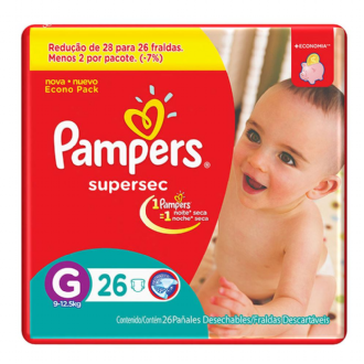 FRALDAS DESCARTÁVEIS INFANTIS PAMPERS SUPERSEC TAMANHO G 26 UNIDADES
