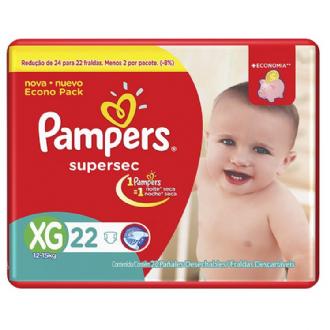 FRALDAS DESCARTÁVEIS INFANTIS PAMPERS SUPERSEC TAMANHO XG 22 UNIDADES