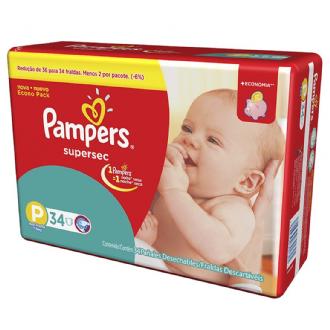FRALDAS DESCARTÁVEIS INFANTIS PAMPERS SUPERSEC TAMANHO P 34 UNIDADES