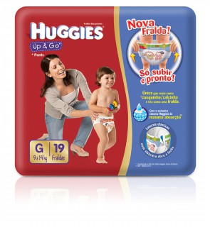 Fralda Huggies Up & Go G com 19 unidades