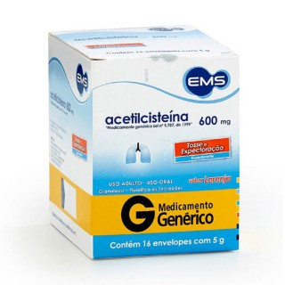 Acetilcisteina 600mg com 16 envelopes EMS
