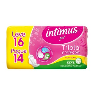 Absorvente Íntimus gel Normal Com Abas Leve 16 Pague 14