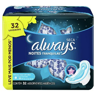 Absorvente Always Active Noturno com Abas seca Leve 32 pague 28 unidades