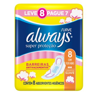 Absorvente Always Básico com Abas Suave Leve 8 pague 7