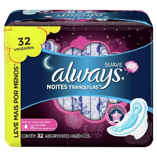 Absorvente Always Noturno pink com abas suave Leve 32 pague 26