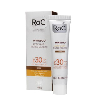 protetor solar roc minesol actif unify tinted mousse deep fps 30 40g