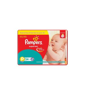 Fralda Pampers Supersec P com 34 unidades