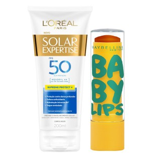 Kit Bloqueador solar Loreal FPS-50 Supreme 200ml Grátis Protetor labial Maybelline Frutas abacaxi
