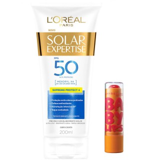 Kit Bloqueador solar Loreal FPS-50 Supreme 200ml Grátis Protetor labial Maybelline Cherry me