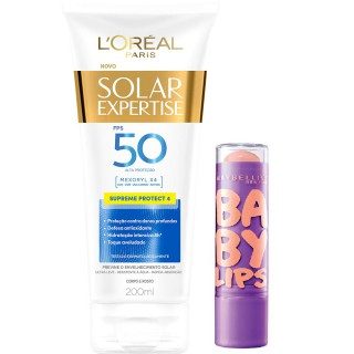 Kit Bloqueador solar Loreal FPS-50 Supreme 200ml Grátis Protetor labial Maybelline Peach kiss