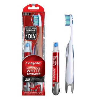 Escova Dental Colgate 360 Luminous White Advanced + Caneta Branqueadora
