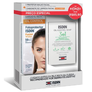 Fotoprotetor Isdin Fusion Water FPS 50+ Grátis Sabonete Oil Control Soap 80g