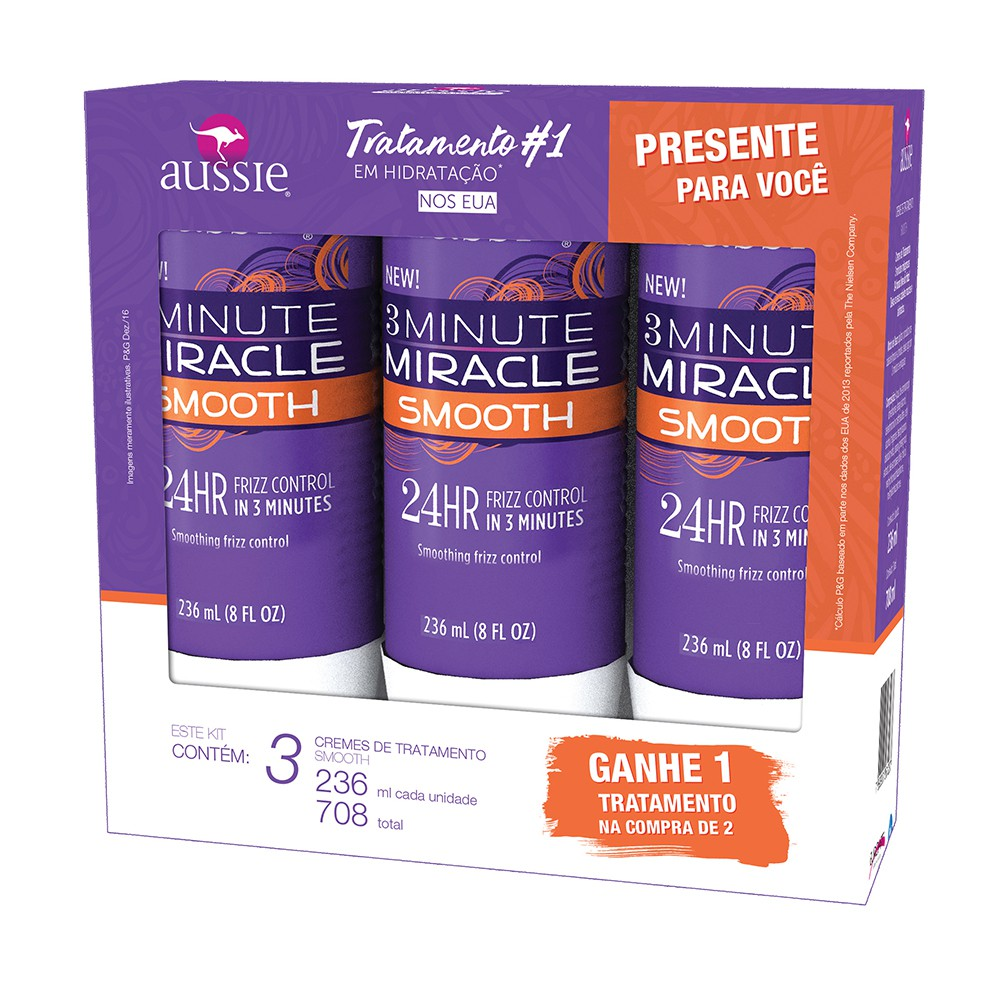 Kit Creme de tratamento Aussie 3 minutes miracle Smooth 236ml Leve 3 pague 2