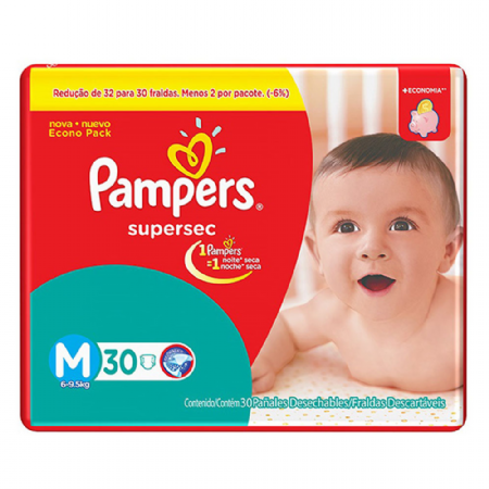 FRALDA PAMPERS BASIC SUPERSEC ECON M 30UN